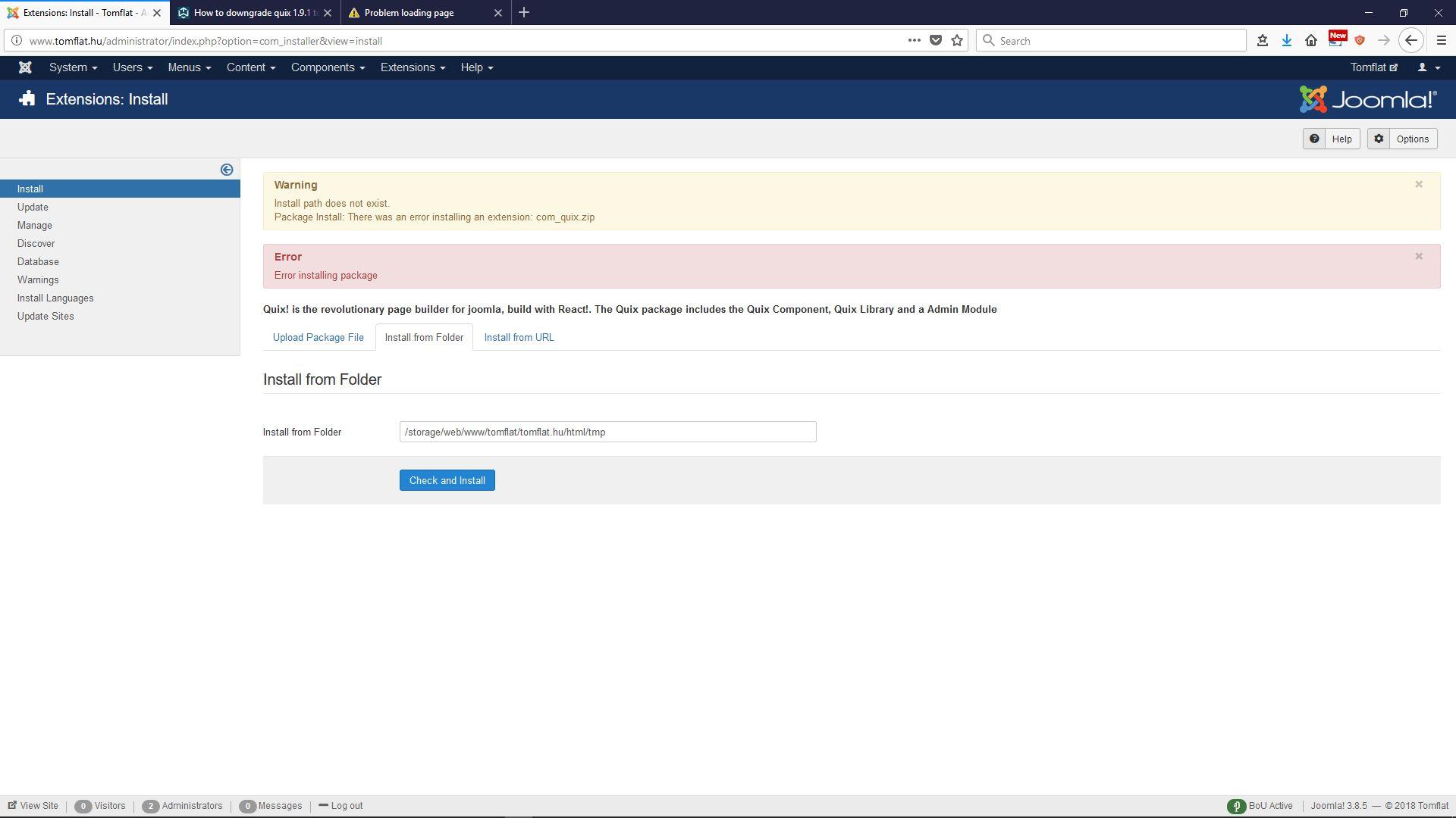 quix install error